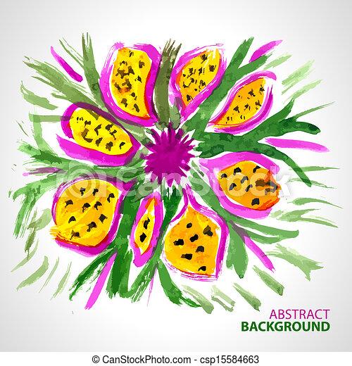 stijl, bouquetten, abstract, watercolor, achtergrond, bloemen - csp15584663