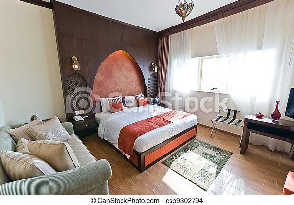 Stijl, flat, moderne, -, oosters, slaapkamer, interieur stockfoto ...