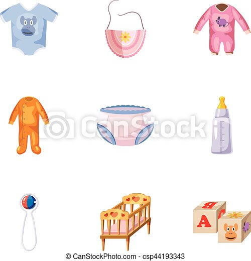 Spullen Voor Baby.Stijl Iconen Set Spullen Baby Spotprent Web Beelden Spullen