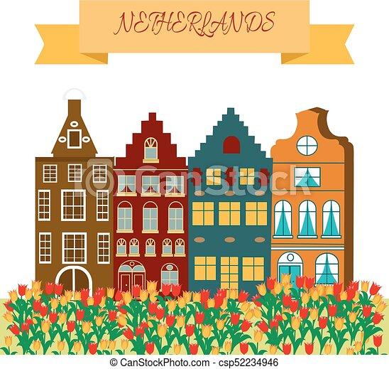 Stijl Van Amsterdam.Stijl Illustratie Symbolen Vector Amsterdam Spotprent