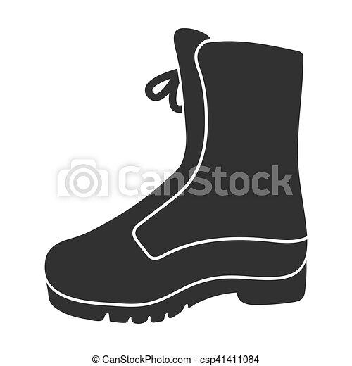 stijl, illustration., gevecht, symbool, laars, vrijstaand, achtergrond., vector, black , pictogram, witte , jacht, liggen - csp41411084