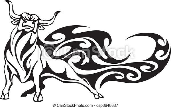 stijl, image., van een stam, -, vector, stier - csp8648637