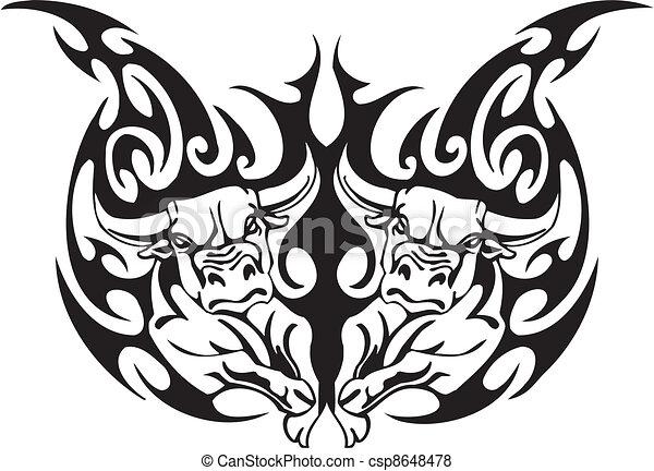 stijl, image., van een stam, -, vector, stier - csp8648478
