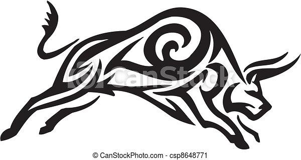 stijl, image., van een stam, -, vector, stier - csp8648771
