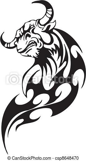 stijl, image., van een stam, -, vector, stier - csp8648470