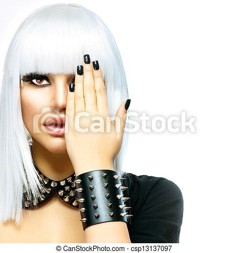 stijl, mode, beauty, punker, vrijstaand, girl., vrouw, witte  - csp13137097