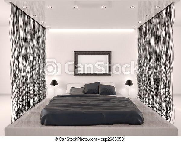 Stijl moderne 3d illustratie slaapkamer.