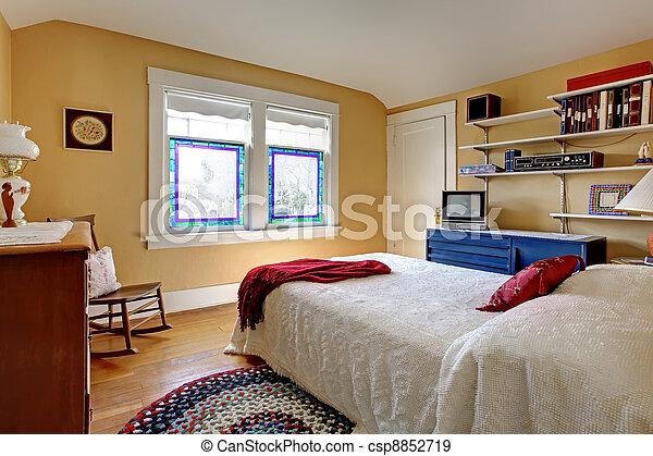 Stijl, oud, engelse , bed., slaapkamer, witte . Oud, eenvoudig ...