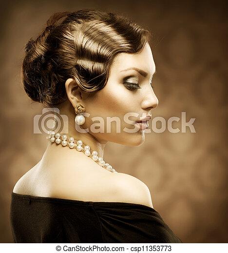 stijl, romantische, klassiek, beauty., portrait., retro, ouderwetse  - csp11353773