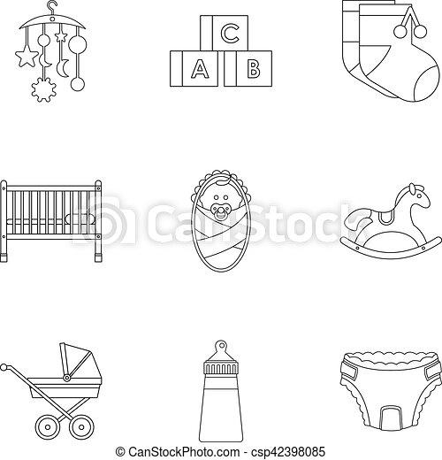 Spullen Voor Baby.Stijl Schets Iconen Set Spullen Baby Web Schets Iconen