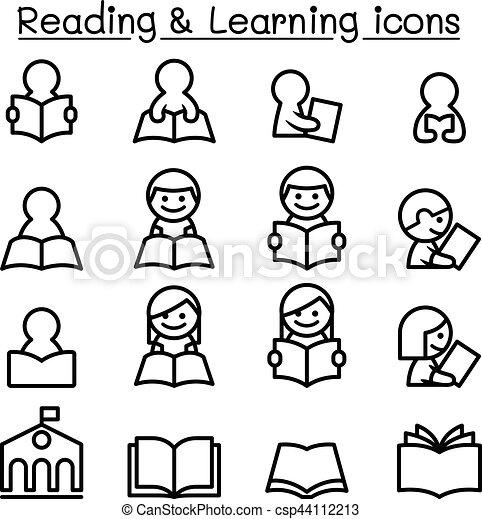 stijl, set, studerend , mager, leren, lijn, lezende , pictogram - csp44112213