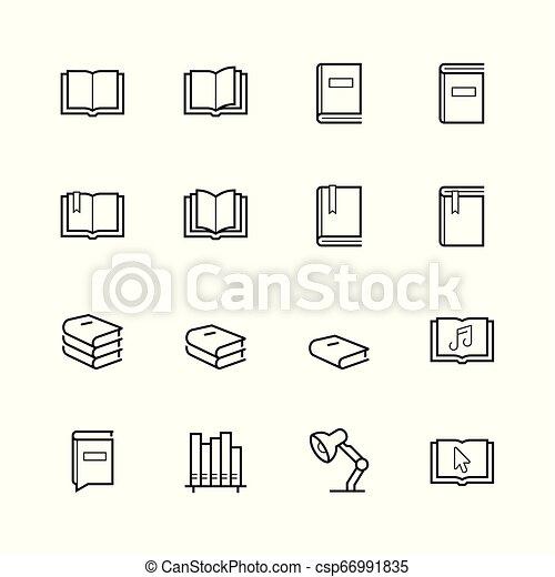 stijl, set, verwant, lijn, lezende , pictogram - csp66991835