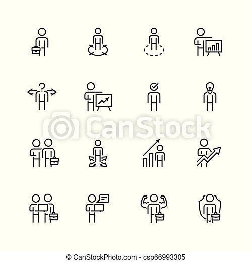 stijl, set, verwant, vector, mager, zakenman, lijn, pictogram - csp66993305