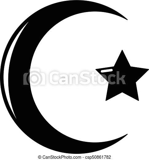 stijl, ster, eenvoudig, symbool, halvemaan, pictogram, islam. web
