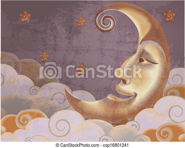 stijl, wolken, maan, illustratie, retro, sterretjes, helft - csp16801241