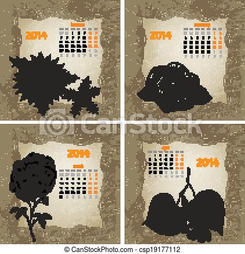 stil, 2014, (january, årgång, år, hand, 1, calendar., flowers., vektor, bläck, oavgjord, del, februari, mars, april) - csp19177112