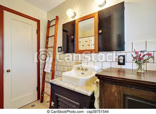 Stil, altes , weinlese, badezimmer, waschbecken,... Stockfoto ...