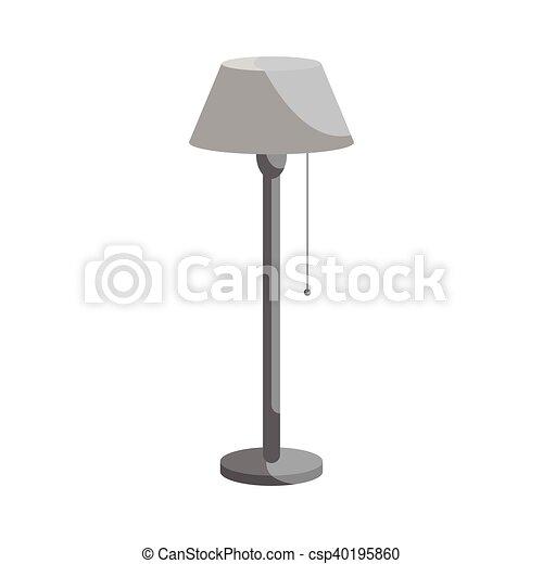 Stil, boden, langer, lampe, schwarz, ikone, monochrom. Stil, boden ...