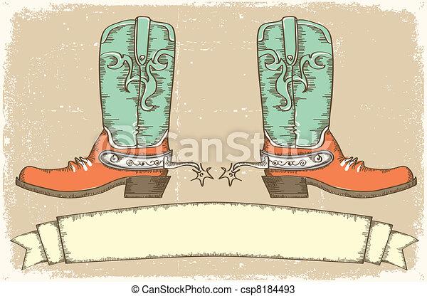 stil, cowboy, text, stiefeln, .vintage, rolle - csp8184493