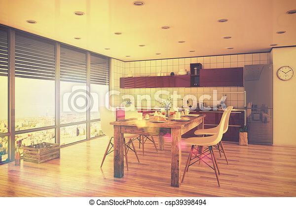 stil, dachgeschoss, render, bereich, modern, -, essen, retro,  inneneinrichtung, kueche , 3d