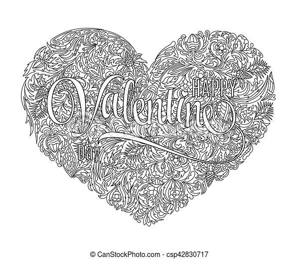 Stil, färbung, kunst, elements., valentines, muster, linie ...