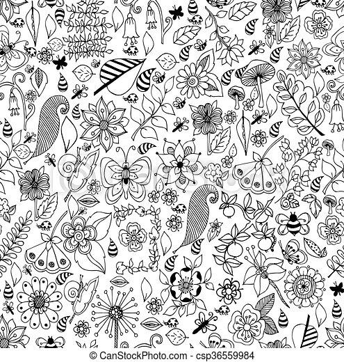 Stil, färbung, kunst, zen, seite, pattern., seamless,... Vektor ...