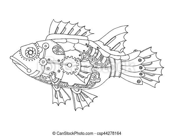 Stil, färbung, steampunk, fische, vektor, buch. Fish., stil ...