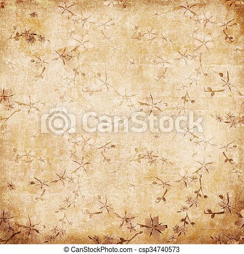 stil, gammal, årgång, illustration, bakgrund., papper, sakura, blommig, grunge, blomningen, retro - csp34740573