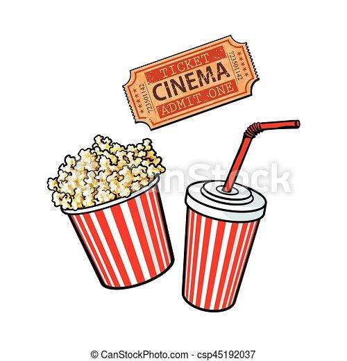 stil kino wasser gegenst nde wischeimer soda popcorn fahrschein retro skizze kino. Black Bedroom Furniture Sets. Home Design Ideas