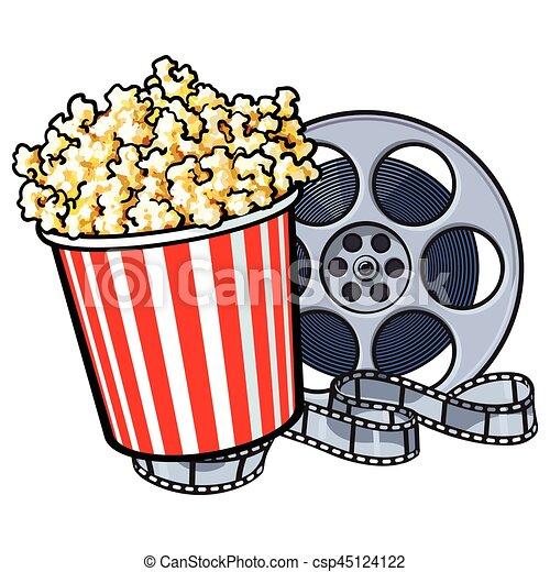 stil kino wischeimer gegenst nde retro popcorn spule film spule skizze vektor. Black Bedroom Furniture Sets. Home Design Ideas