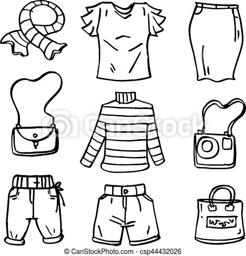 rita, hand väska, doodles, kvinnor, kläder