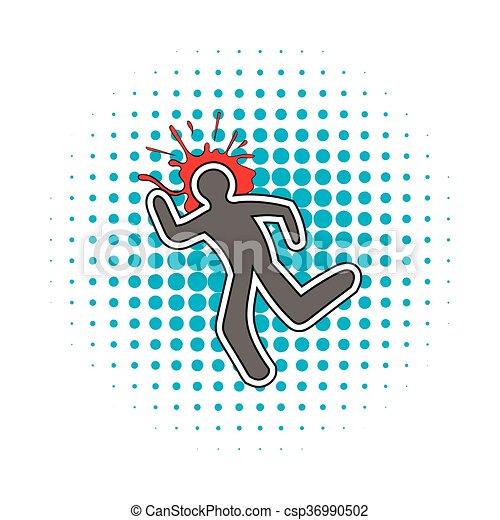 stil, komiker, krita, blod, ikon, fodra, splat - csp36990502