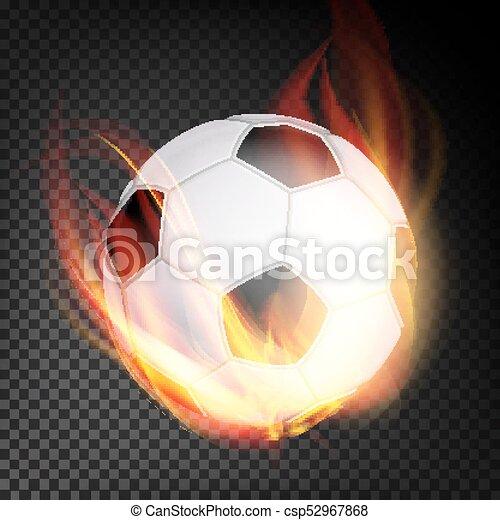 Football Ball Vektor Realistisch Fussballball Im Brennstil