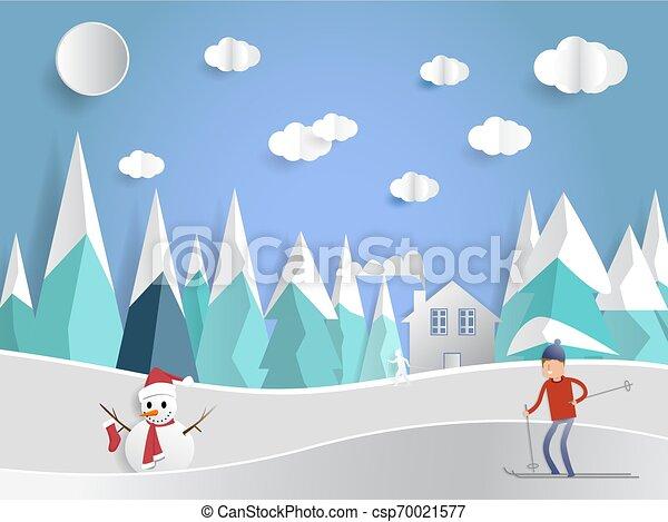 stil, kunst, winter, ansichten, haus, papier - csp70021577