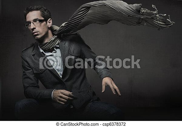 stil, mode, foto, elegant, underbar, man - csp6378372