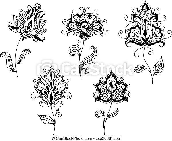 Stil, persisch, schwarz, motive, blumen-, weißes. Paisley, motive ...