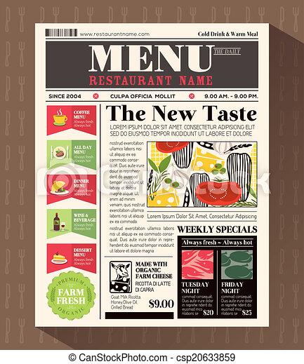 Stil, restaurantmenü, design, schablone, zeitung Clipart Vektor ...