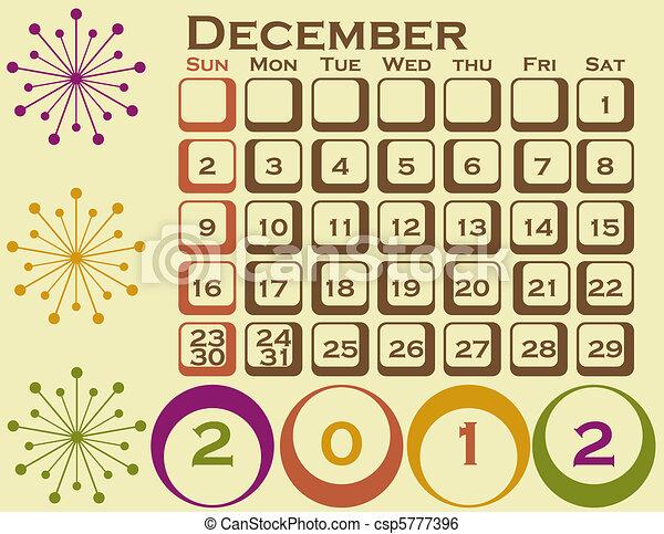 stil, sätta, december, 1, retro, kalender, 2012 - csp5777396