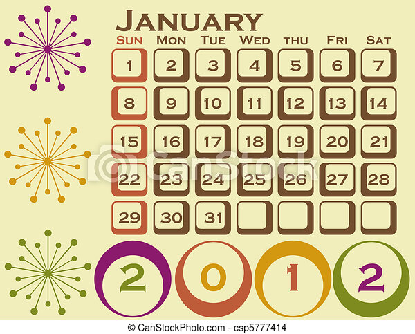 stil, sätta, januari 1, retro, kalender, 2012 - csp5777414