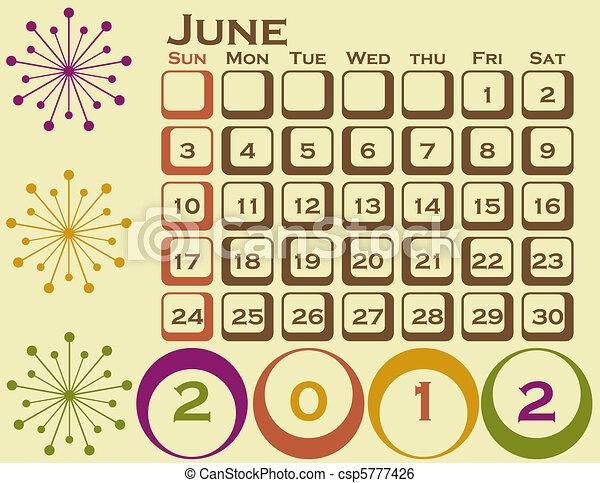 stil, sätta, juni, 1, retro, kalender, 2012 - csp5777426