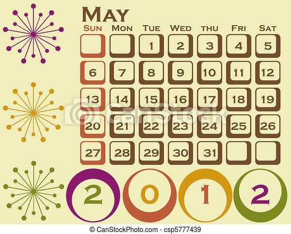 stil, sätta, maj, 1, retro, kalender, 2012 - csp5777439