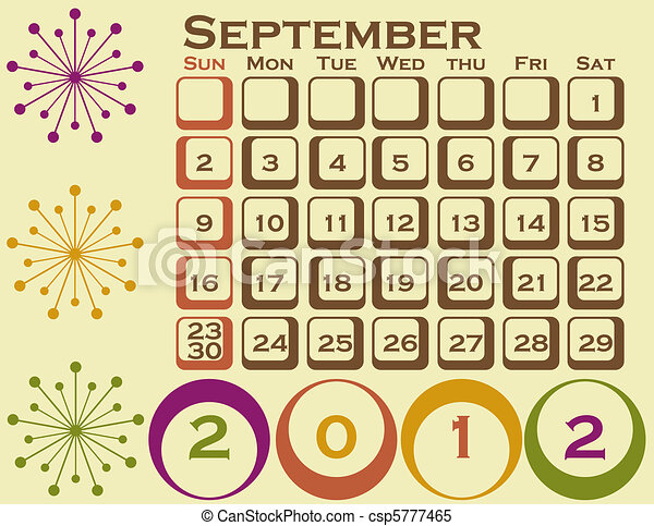 stil, sätta, september, 1, retro, kalender, 2012 - csp5777465