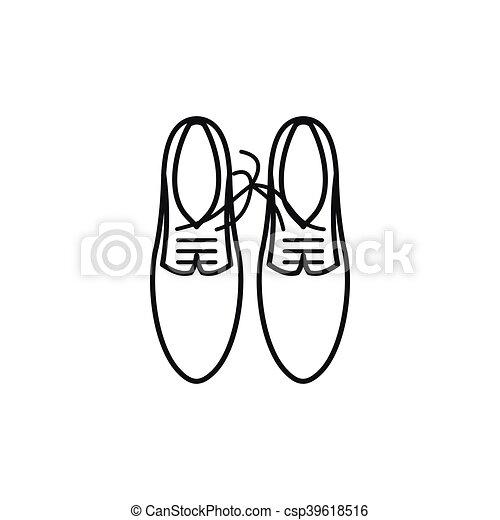 Schuhe mit schnürsenkeln verbunden ikonen, umriss stil
