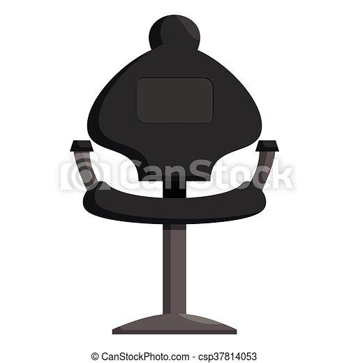 Stil Schwarz Ikone Friseur Stuhl Karikatur