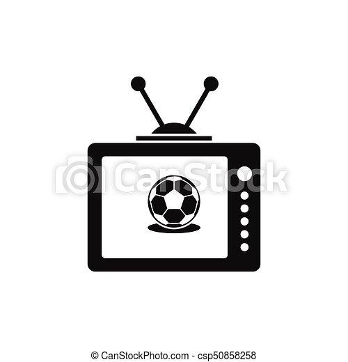 Stil Silhouette Fernsehapparat Schwarz Ikone Fussball