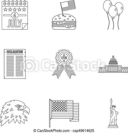 stil, skissera, sätta, fjärde, juli, dag, ikon - csp49614625