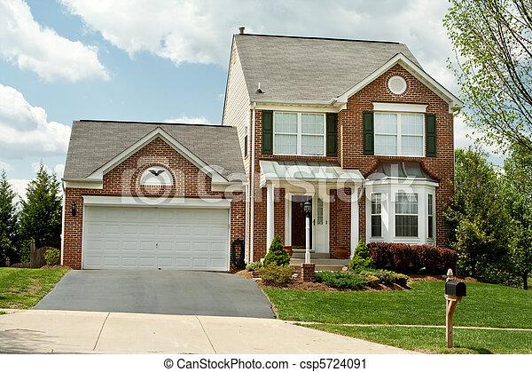 stil, usa., familj, mycket, hus, förorts-, färsk, främre del, singel, maryland, hem, liten, sådan, tegelsten, anläggning. - csp5724091