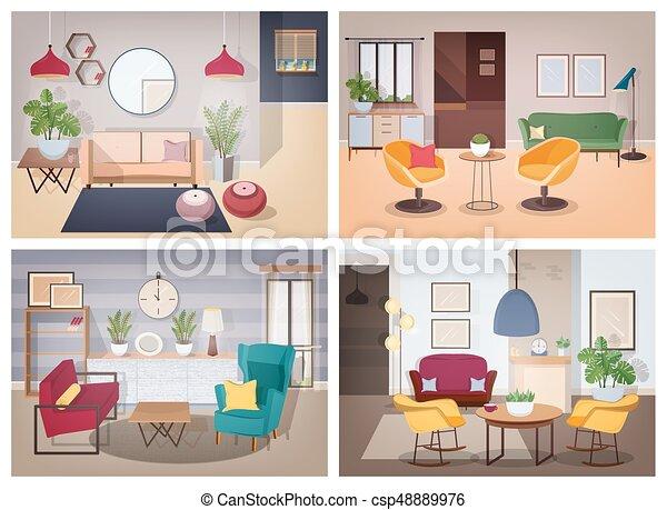 Stil, Wohnung, Bunte, Möbliert, Collection., Set., Inländisch,
