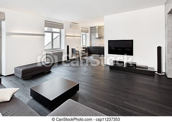 Modernes Minimalistisches Wohnzimmer Mit Schwarzen Und