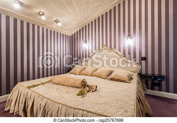 Stile barocco, letto. Stile, barocco, romantico, letto, camera letto.